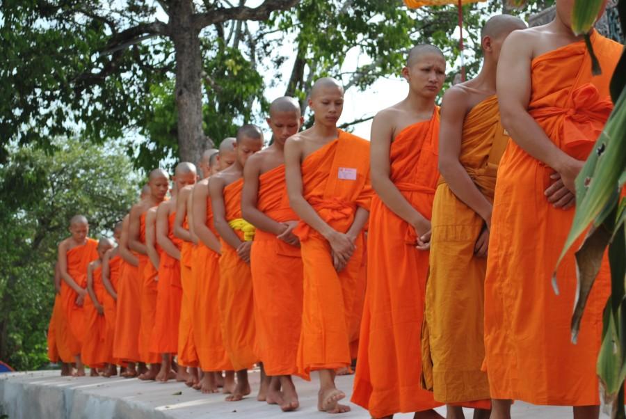 Volunteers Visting the Novices During Walking Meditation January 2015