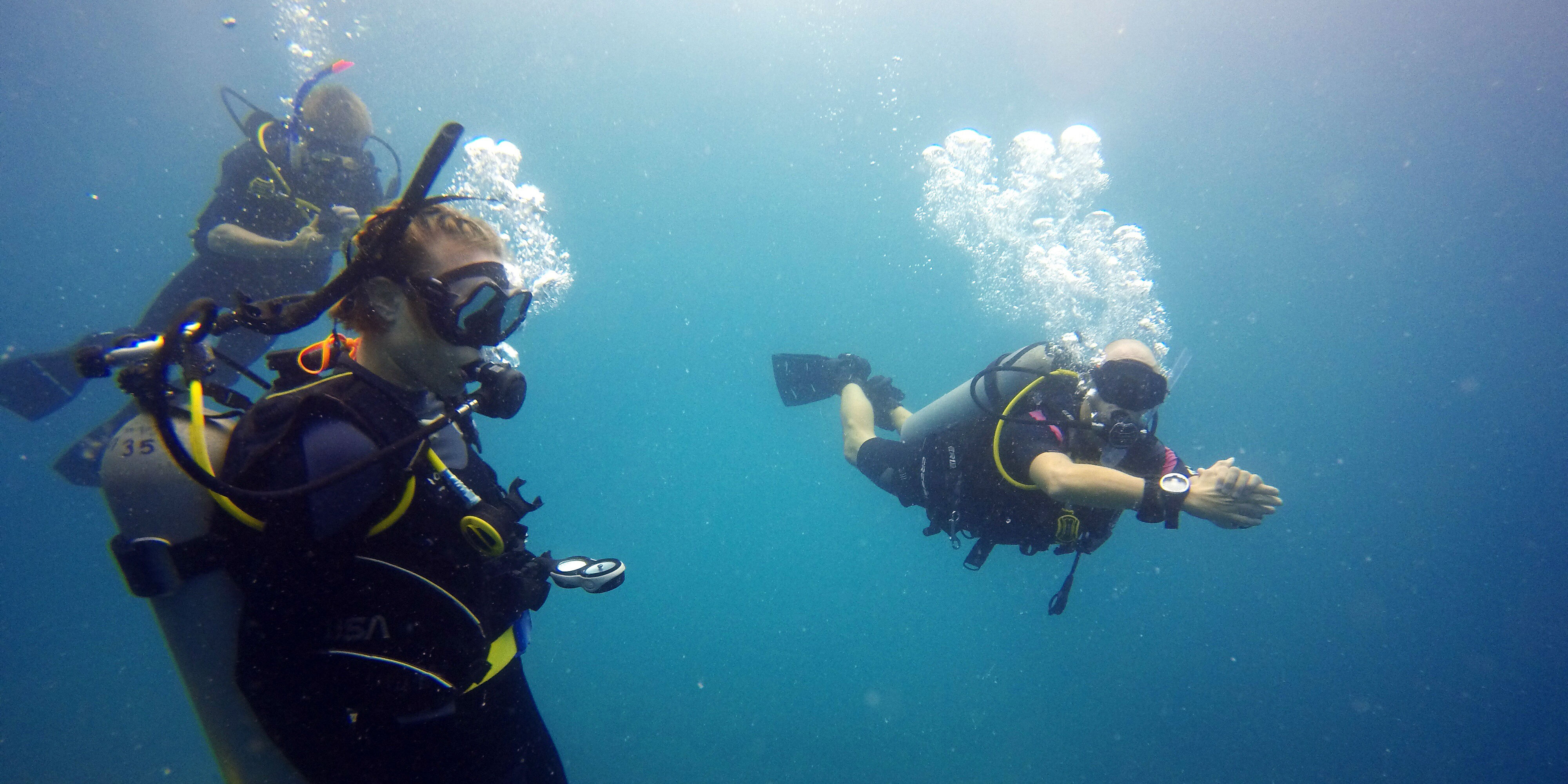 These participants complete data collection dives while on marine conservation programs with GVI.