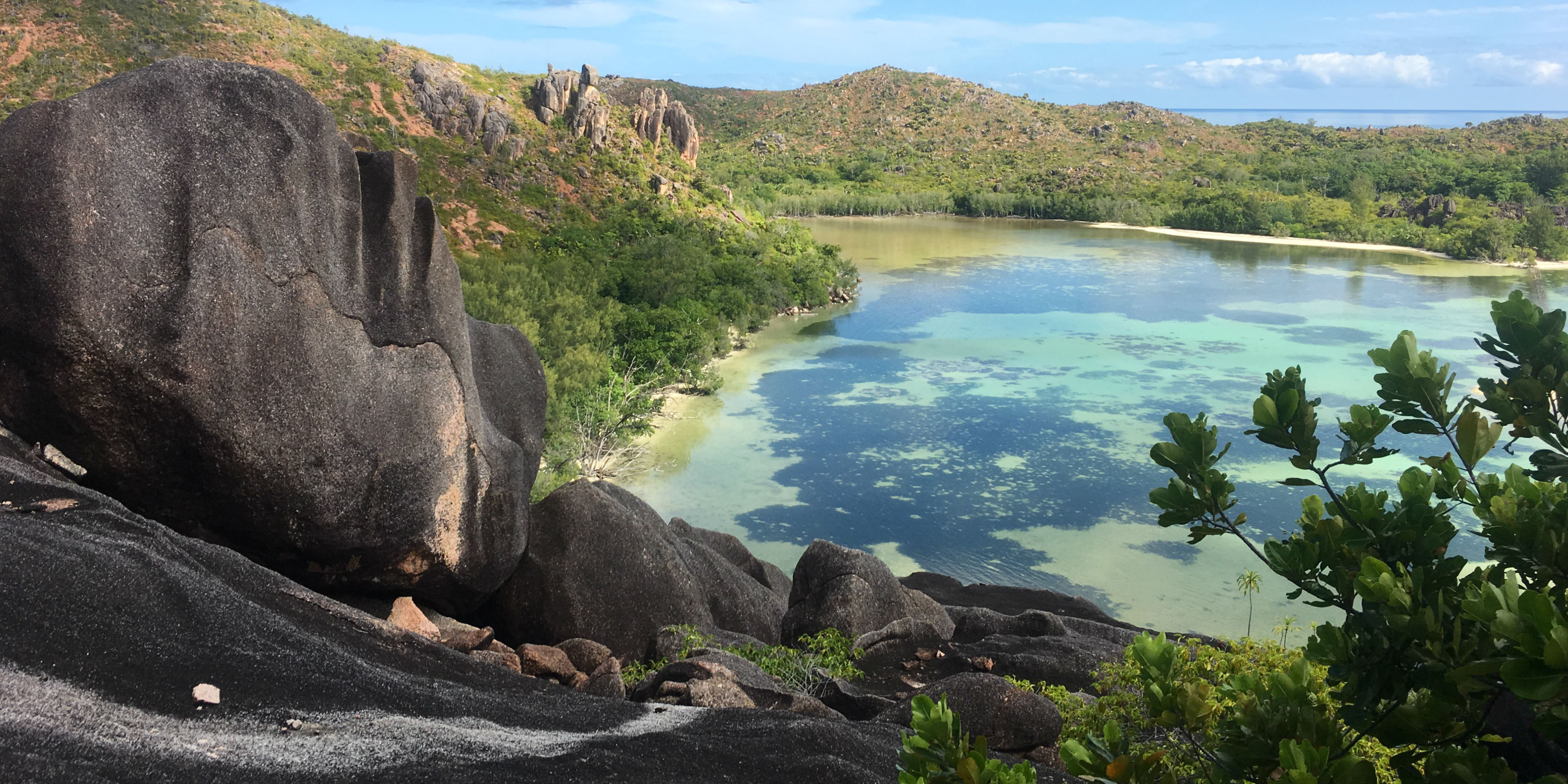 Granitic rock formations like this are a memorable feature on Curieuse Island.