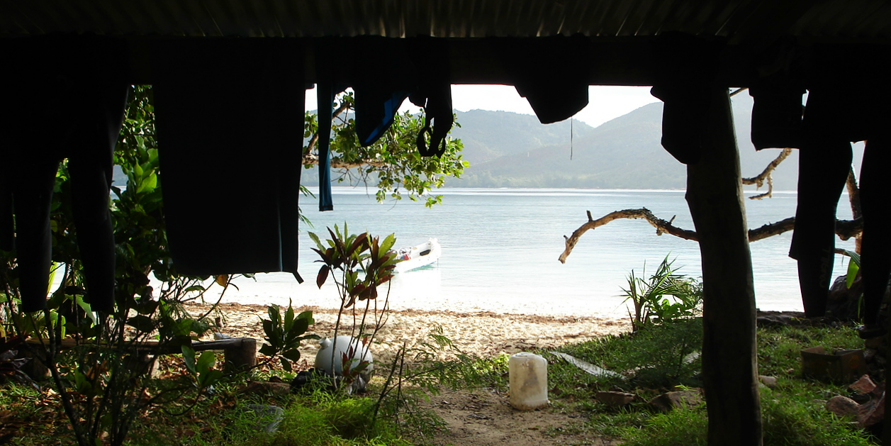 GVI's accommodation on Curieuse Island is right on the beach.