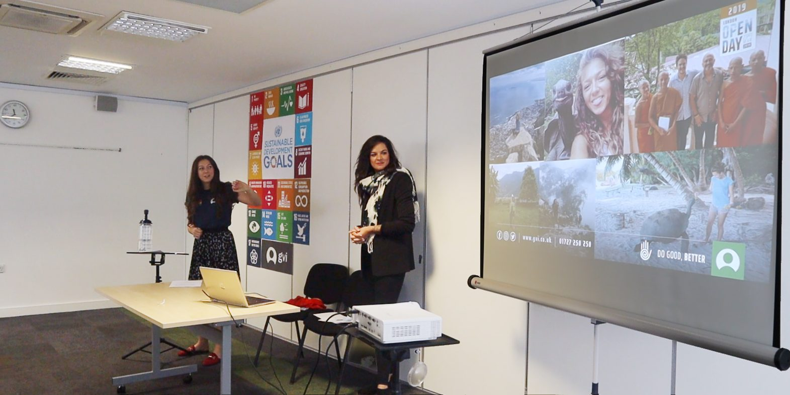 GVI staff give a presentation on the organisation's programs. Teens looking to kickstart their own volunteer projects should be willing to do similar presentations to raise funds and awareness.
