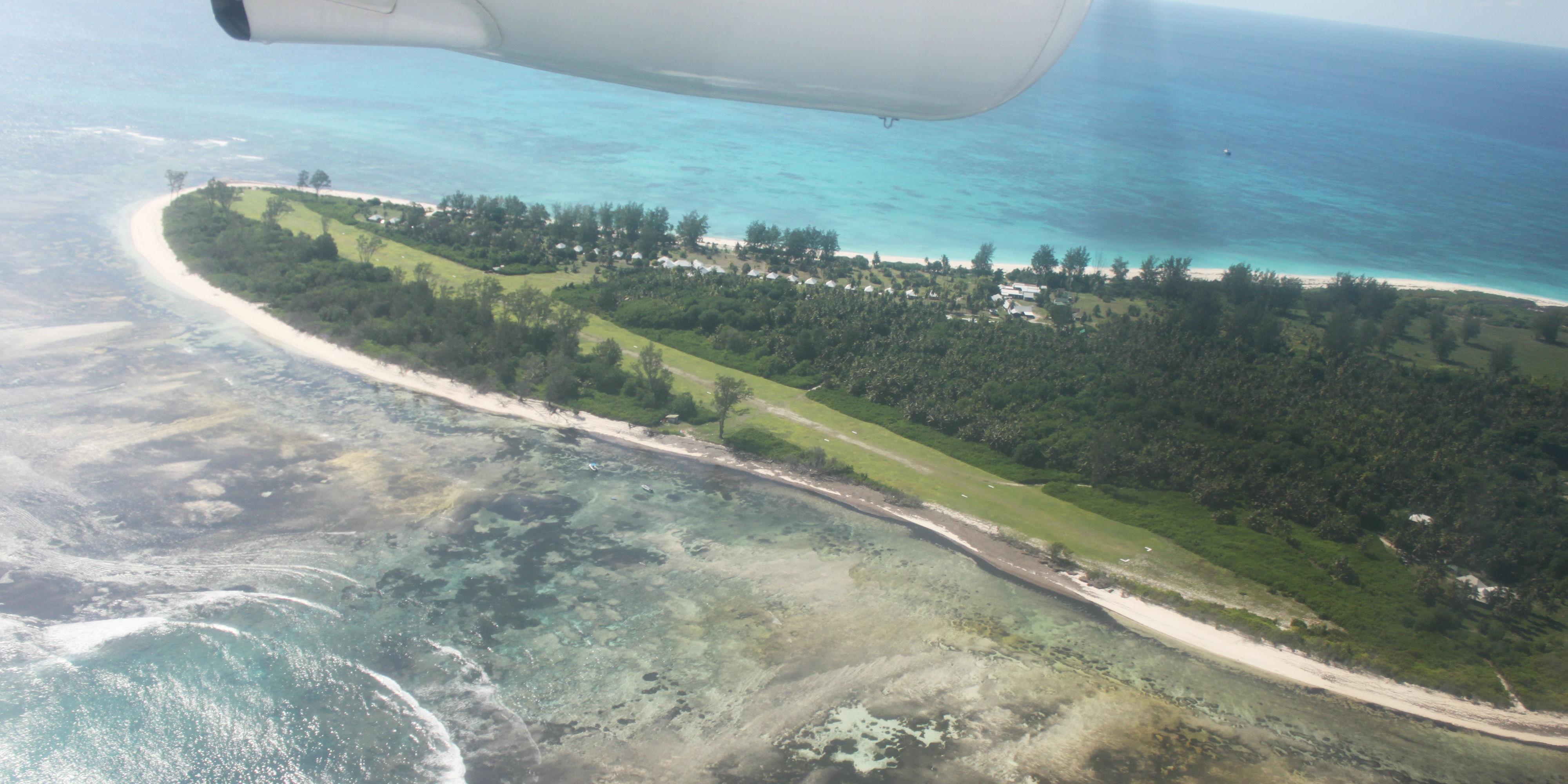 An aerial view of Bird Island, Seychelles.