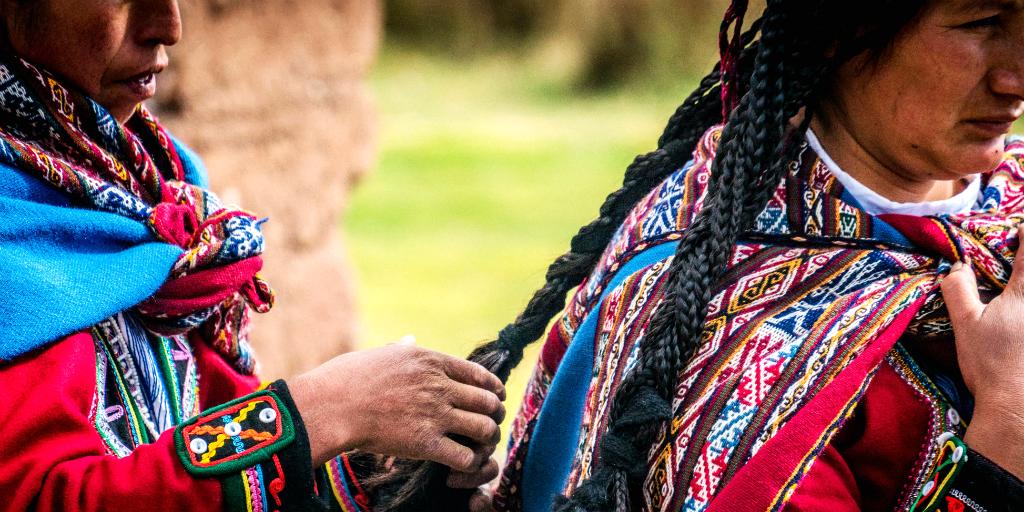 Women in traditional attire in peru cusco