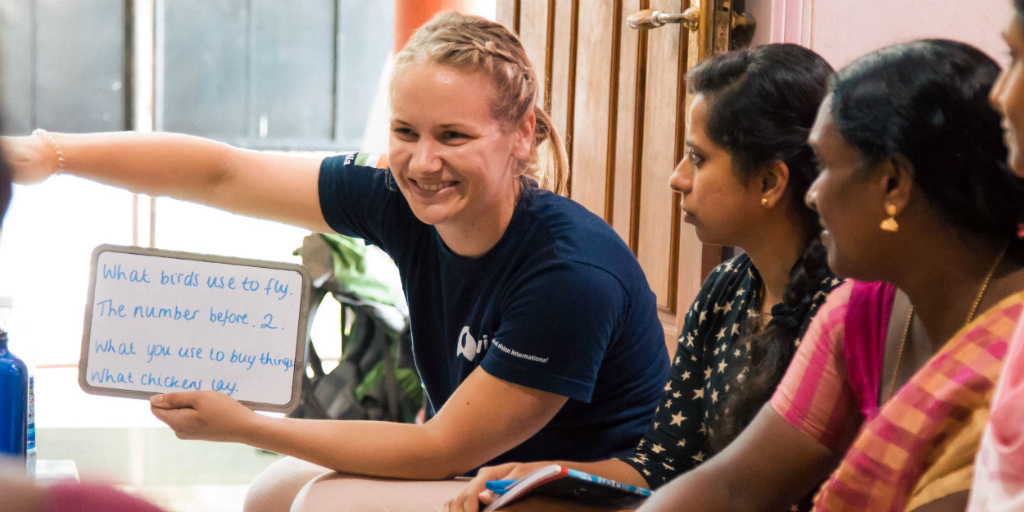 volunteer working on womens empowerment community development volunteer program in india