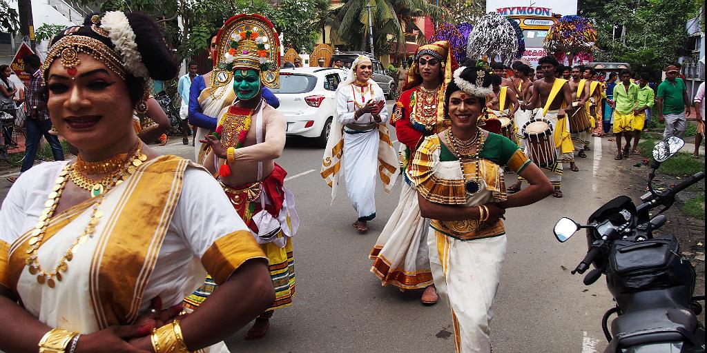 Travel to Kerala, India and see Kathakali dancers.